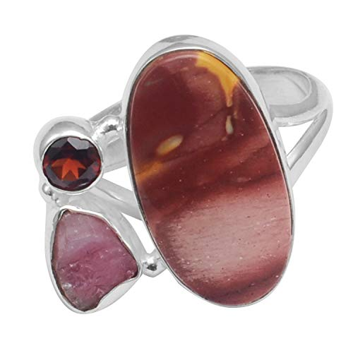 Silver Palace Mookaite Jasper, granate sólido 925 anillo de plata de ley 9.25 FR-606