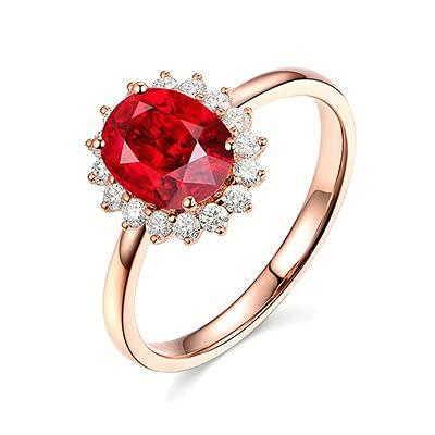 Bishilin Anillo de Oro Rosa 750 Reales, 0.4ct Oval Rubí con Rojoondo Diamante Anillo de Compromiso Anillo de Aniversario Aniversario Cumpleaños Oro Rosatamaño: 17