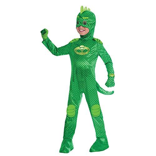 Amscan - Disfraz PJ Mask Gekko Luxe - Talla para 7-8 aos - Multicolor - Modelo n. 7AM9902970