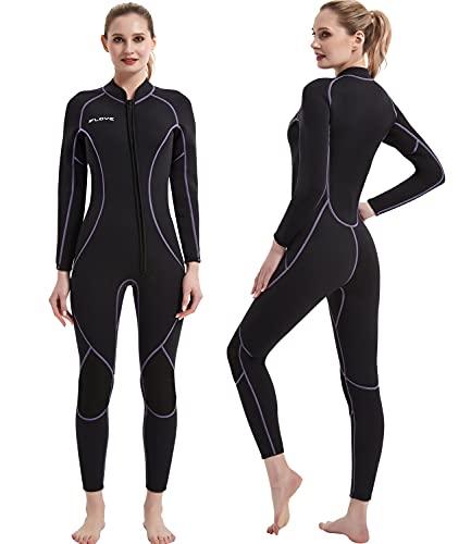 IFLOVE 3mm Combinaison Plongée pour Femme Manches Longues Néoprène Monopiece Wetsuit Surf Snorkeling Natation L