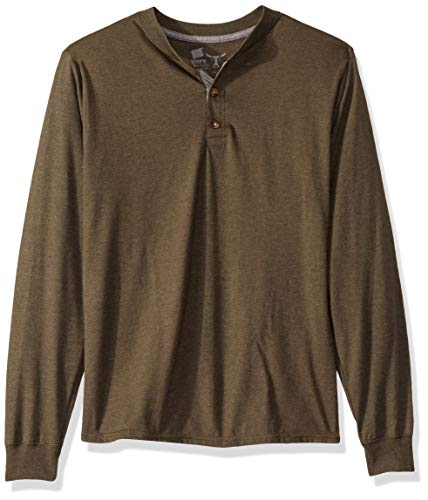 Hanes mens Long Sleeve Beefy Henley Shirt camouflage Green Heather X Large