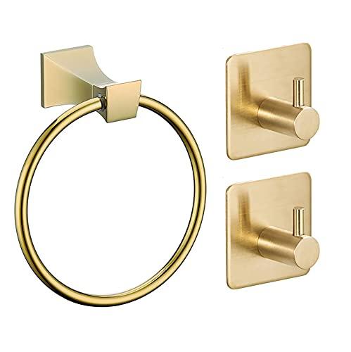 Anillo de toalla Hardware de baño Aleación de zinc inoxidable Toallero de mano soporte de pared autoadhesivo cepillado oro