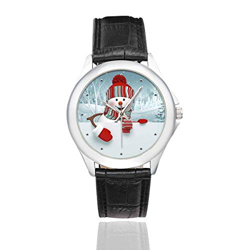InterestPrint Funny Cartoon Happy Snowman Christmas Women's Waterproof Classic Wrist Watch with Black Leather Band