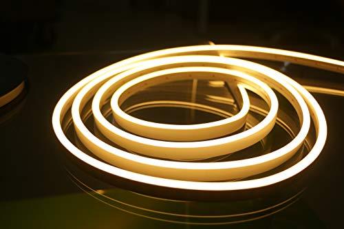 YXHL® DC12V Silikon LED Neonlicht, wasserdicht für Innen- und Außendekoration DIY Schild, 5 Meter 3000K Warmweiß