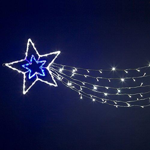 XMASKING Estrella acrílica Doble de 6 Colas de 180 cm, 150 LED Blanco frío y Azul, Efecto Flash, Estrellas Luminosas, decoración navideña, Luces de Navidad