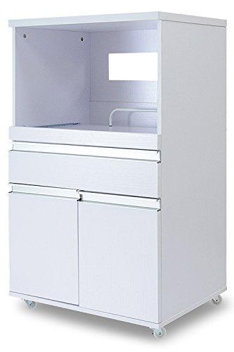 DORIS キッチンラック レンジ台 収納 幅60 コンセント付 組立式 ホワイト モナ