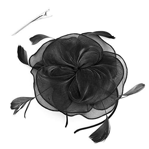 YINETTECH Fleur Plume Fascinator Chapeau Bandeau avec Pince À Cheveux Mailles Rubans Accessoires Chapeaux Clips À La Fourrée Courses De Mariage Filles Femmes Noir