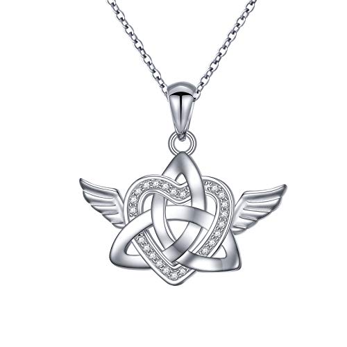 DAOSHANG S925 Sterling Silver Celtic Knot Angel Wings Love Heart Pendant Necklace for Women Teen Girls Angel Lovers, with Jewelry Gift Box