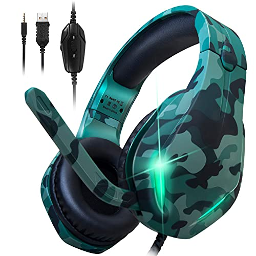 Stynice Gaming Headset for PC, PS4, Xbox One, Laptop, Crystal Clear Surround Sound Computer Gamer Headset with Noise Canceling Mic and LED Light - Lightweight and Comfortable Gaming Headphone