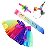 Maticr Kids Rainbow Tulle Tutu Bow Tie Skirt & Unicorn Flower Headband Girls Costume Kit (Large, Rainbow Pony)