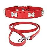 Yiwong Collar de Perro de PU Ajustable + Correa de Perro, Collar de Perro Hecho de Aleación de PU, Collares para Perros Gatos
