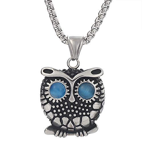 FTYYSWL Owl Titanium Steel Pendant Necklace Personality Men's Punk Accessories