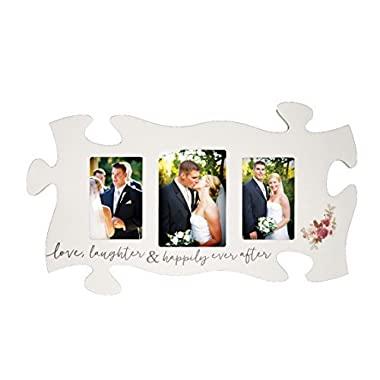 Love Laughter & Happily Ever After White 13 x 22 Wood Puzzle Photo Frame Wall Plaque