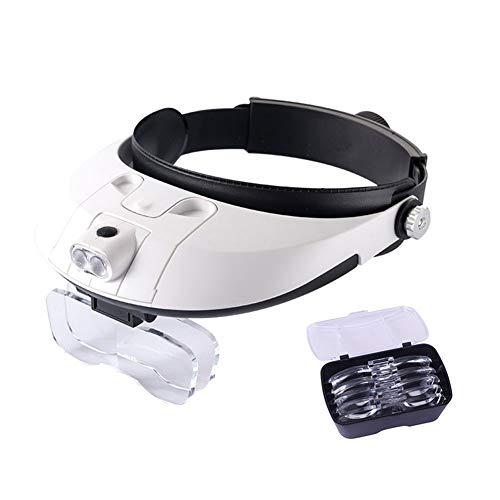 JXRY Lupa con Banda para la Cabeza,Lupa de Tipo anteojos con LED y Manos Libres, Lupa de Zoom Desmontable de 1X a 6X para Leer Reloj de joyería y reparación electrónica