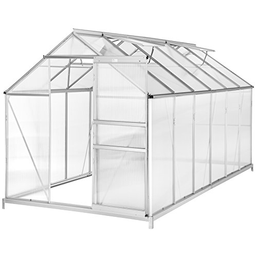 TecTake Greenhouse polycarbonate aluminium growhouse with window and sliding door 375x185x195 cm - different models - (375x185x195 cm with foundation | no. 402478)