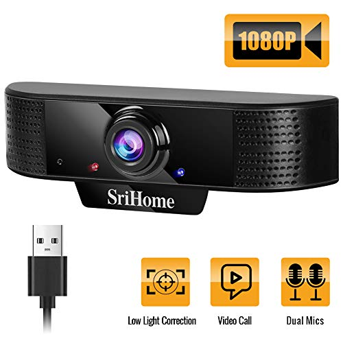 BTNEEU Cámara Web HD 1080p, Webcam con Microfono para PC Videollamadas, Conferencias, Grabación, Cámara Web para Ordenador Portátil con Plug and Play para Youtube, Skype, Compatible con Windows
