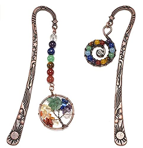 VadiForest 2pcs Metal Bookmark Healing Crystal Tumbled Stones Bookmark Antique Copper 7 Chakra Assorted Bead Vintage Bronze Bookmark Tree of Life and Whirlpool Sign Pendant Merkaba Spiral 4.8 inches
