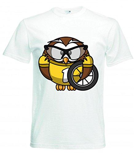 Camiseta con diseño de búho, animales, bicicleta, pájaros, ciclistas, divertidas, vasos, ciclismo, carreras, ciclismo, deporte, rápido para hombre, mujer, niños, 104 – 5 XL Blanco Talla del hombre: XXX-Large