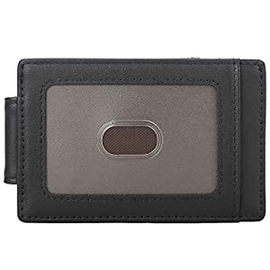 Polare Men's RFID Blocking Full Grain Leather Magnetic Front Pocket Money Clip Powerful Magnets Slim Wallet