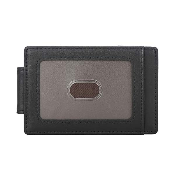 Polare Men's RFID Blocking Full Grain Leather Magnetic Front Pocket Money Clip Powerful Magnets Slim Wallet