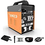 SUNCOO MIG 130 Welder Flux Core Wire Automatic Feed Welding Machine No Gas 110 Volt Portable Little Welder Machine,Orange