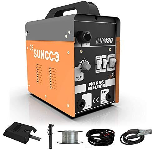 SUNCOO MIG 130 Welder Flux Core Wire Automatic Feed Welding Machine No Gas 110 Volt Portable Little Welder Machine,Orange