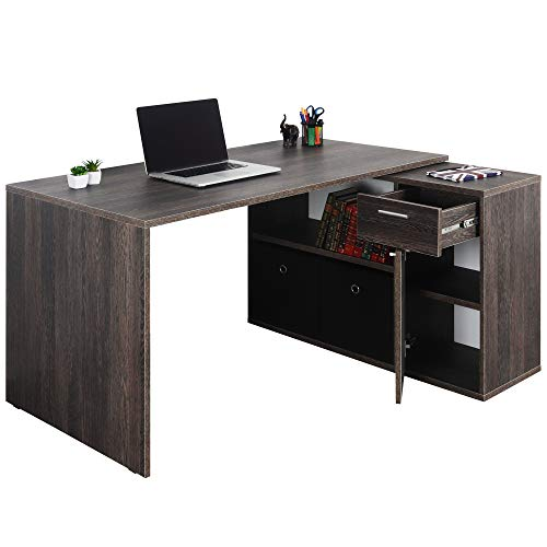 RICOO WM083-VW Escritorio esquinero Mesa Ordenador Esquina Organizador Oficina Muebles de hogar Buro rinconera PC Gaming Madera