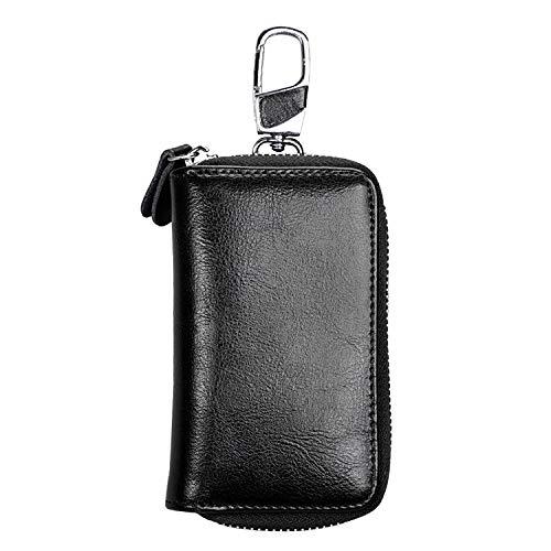 Bolsa MMGZ 9101 multifunción Colgante de la Cintura del Cuero Cera de petróleo Cremallera Llaves Monedero sostenedor del Bolso (Negro) (Color : Black)
