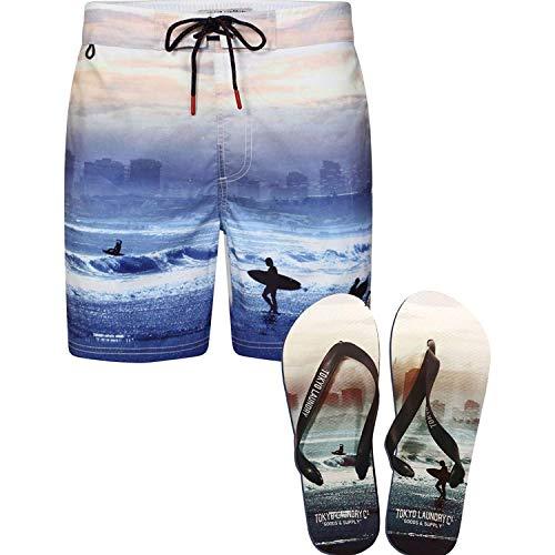 Tokyo Laundry Uomo Eppink Micro Fibra Surf Beach Sky Pantaloncini Da Nuoto Flip Gratis Flops - Blu Waves, XL