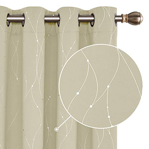 Deconovo Cortinas Opacas Diseño Líneas Plateadas para habitación con Ojales 140 x 180 cm 2 Paneles Beige Oscuro
