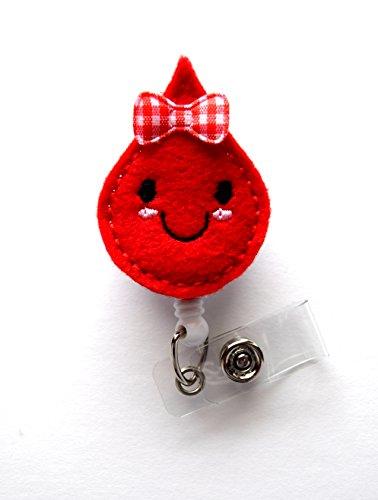 Betty Blood Drop - Retractable ID Badge Reel - Teacher Badge Holder - Cute Badge Reel - Nurse Badge Holder - Nursing Badge Clip - Felt Badge