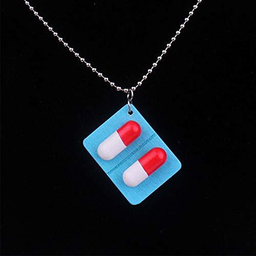 TTDAltd Collar Lindo Hecho a Mano píldoras de cápsulas de Madera Collar Colgante de Acero Inoxidable Collar de Medicina Divertida Collar para Mujer niña joyería única cápsula de Regalo Azul