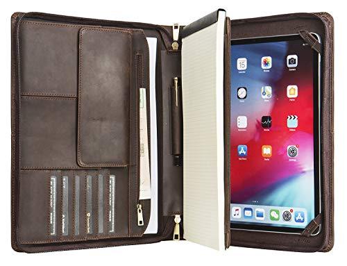 iPad Pro 9.7 / iPad Air/Air 2のための手作りのレザータブレットポートフォリオ、格納式ハンドル付きビジネスブリーフケース、右利きまたは左利きに最適(ダークブラウン)