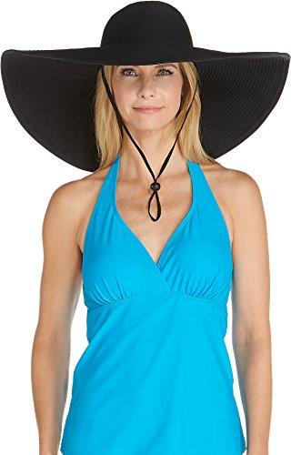 Coolibar Chapeau de Piscine pour Femme Protection UV 50 Plus Taille Unique Blanc Taille Unique Noir