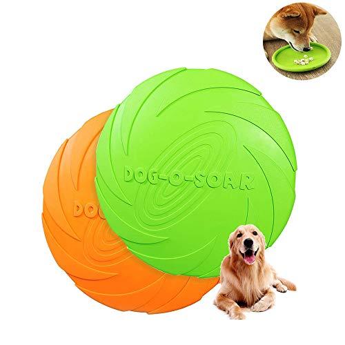 Hunde Frisbees,Hund Scheibe, 2 Stück hundespielzeug Frisbee,Gummi Frisbee,für Land und Wasser,Hundetraining, Werfen, Fangen & Spielen(Grün + Orange) (M-18CM)