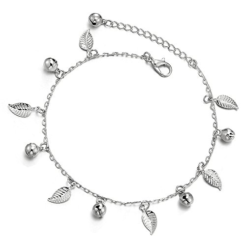 COOLSTEELANDBEYOND Unique Link Chain Anklet Bracelet with Dangling Charms of Leaves and Jingle Bells, Adjustable