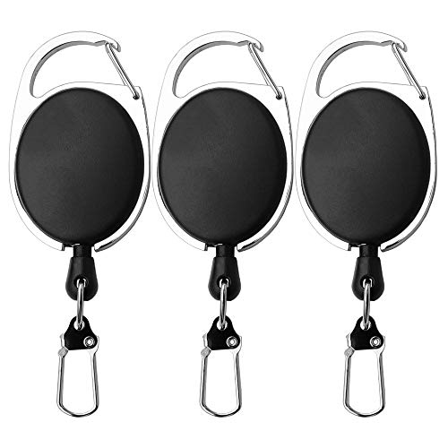 SAMSFX Fly Fishing Zinger Retractor for Gear Tools Holder 3PCS (Retractor with Ordinary Clips)