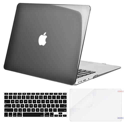 MOSISO Funda Dura Compatible con MacBook Air 13 Pulgadas (A1369 / A1466, Versión 2010-2017), Carcasa Rígida de Plástico & Cubierta de Teclado (USA Versión)&Protector de Pantalla Cristal Negro Azabache