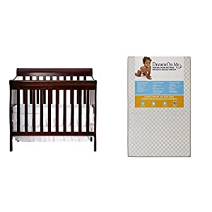 Dream On Me Aden 4-in-1 Convertible Mini Crib with Dream On Me 3″ Portable Crib Mattress, White