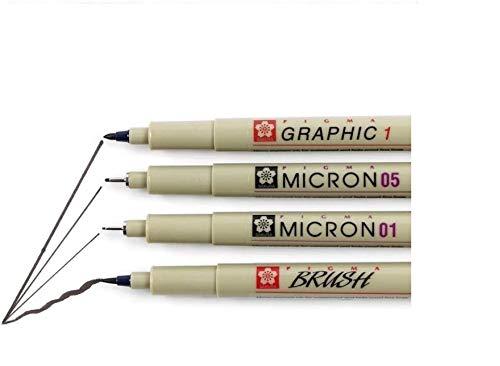 Sakura PIGMA MICRON 01.05.1mm.brush. Custodia con 4 feltri di seppia