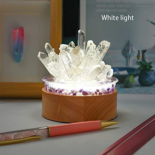 LiuliuBull Punto de Singel de Cristal de Cuarzo Claro Natural Bricolaje Lámpara de Cristal Reiki Healing Home Decor Colección de espécimen minerales (Color : Blanco)