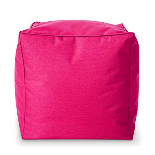 Green Bean Outdoor © Square Dice Sitzsack-Hocker - 40x40x40 cm - Indoor & Outdoor - schmutzabweisend, waschbar - Bean Bag Pouf, Fußunterlage, Sitzbank - für Kinder & Erwachsene - Pink