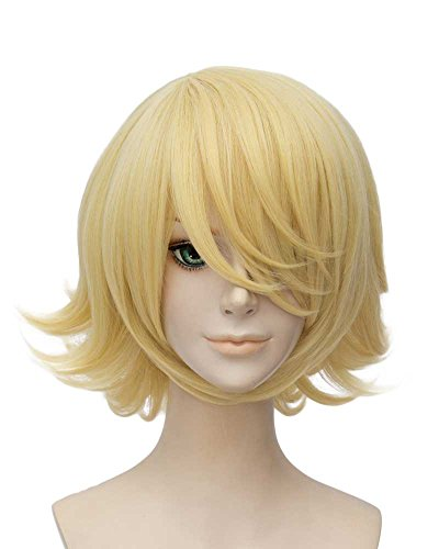 Tsnomore Short Straight Anime Cosplay Costume Halloween Unisex Wig short blonde wigs for women (Blond Curly)