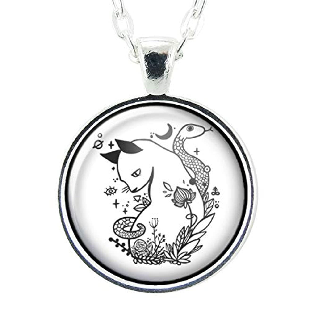 Cat And Snake Handmade Art Pendant Necklace, White Charm With Chain