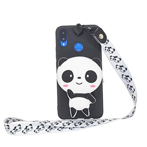 Miagon Silikon Hülle für Huawei P Smart 2019,3D Süß Brieftasche Lager Tasche Design mit Halskette Kordel Schnur Handykette Necklace Band,Panda