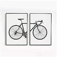 北欧の黒と白のファッションバイク絵画キャンバスポスターリビングルームスカンジナビアの壁アートモジュラー自転車の写真家の装飾50x70cm(20x28in)×2