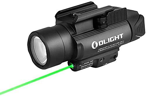 Olight Baldr Pro Pistolet Lampe Militaire Tactique Puissante avec Pointeur Laser Vert Réglable Trois Modes d'Éclairage 1350 Lumens 260M Lampe Laser pour Chasse Recherche Rail Picatinny & GL Noir