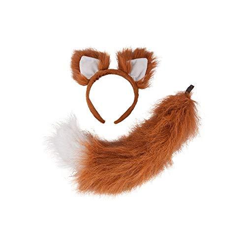 Wicked Costumes Unisex Deluxe Fox Animal Ears & Faux Fur Fluffy Tail Fancy Dress Accessory