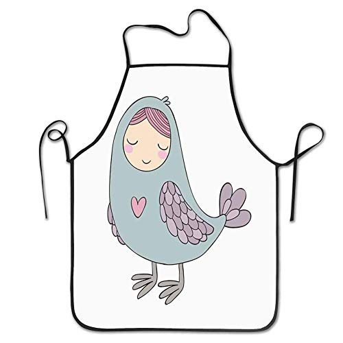 alice-shop Schürzen, russische Folklore und Mythologie Childish Sirin Bird Character mit Pink Heart Cartoon
