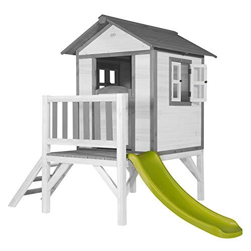 AXI Spielhaus Beach Lodge XL in Weiß mit hellgrüner Rutsche | Stelzenhaus aus FSC Holz für Kinder | Kleiner Spielturm für den Garten